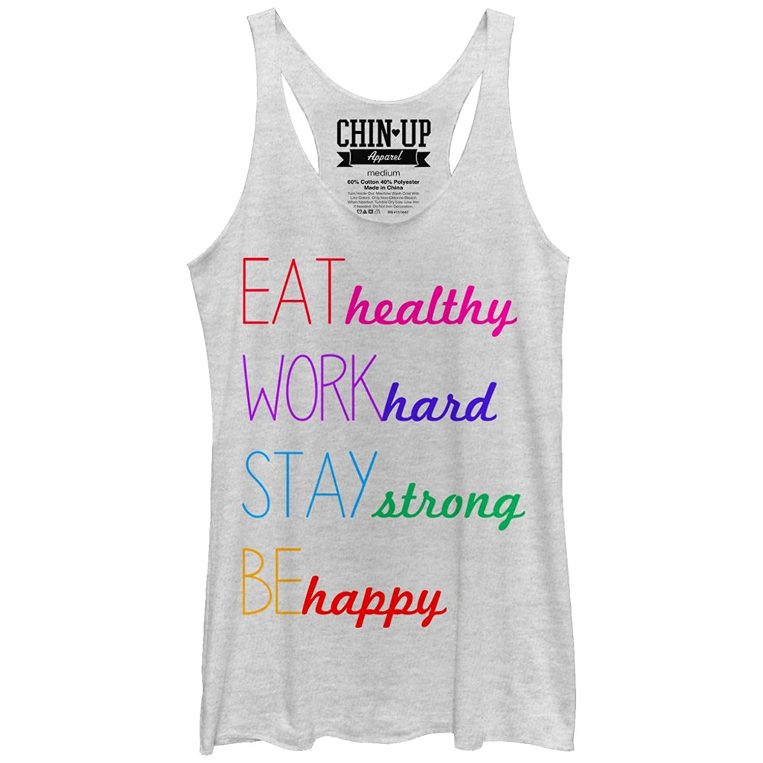CHIN UP Happy Womens Graphic Racerback Tank