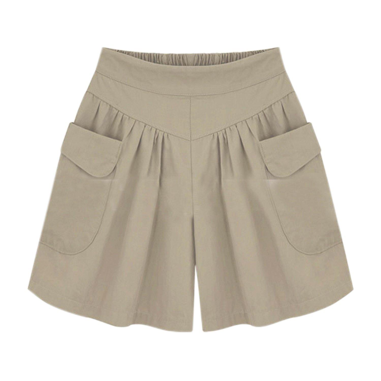 Misscat Women Loose Casual Shorts Summer Culottes Elastic Waist A-Line Pants