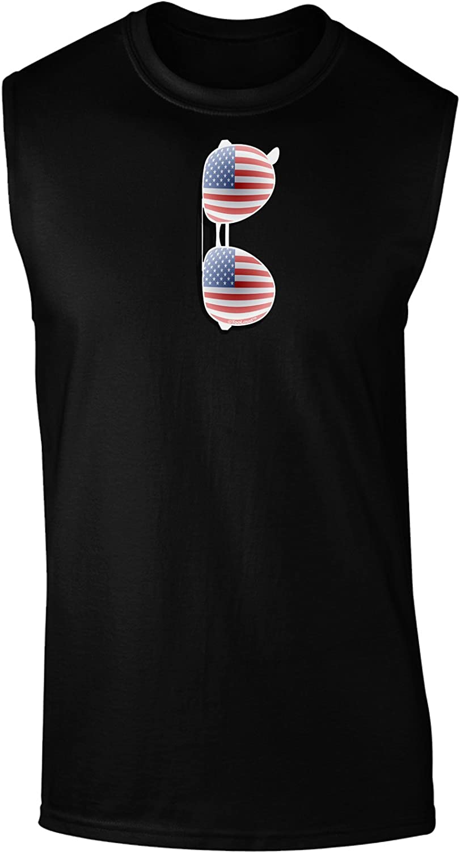 Silver American Flag Aviator Sunglasses Dark Muscle Shirt
