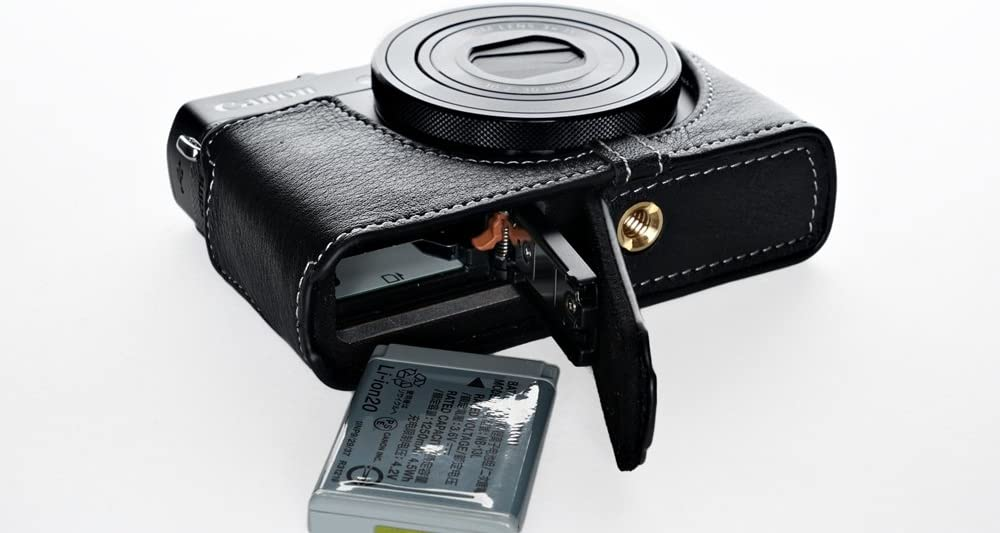 Handmade Genuine real Leather Half Camera Case bag cover for Canon PowerShot G9 X G9x Bottom opening Version Black