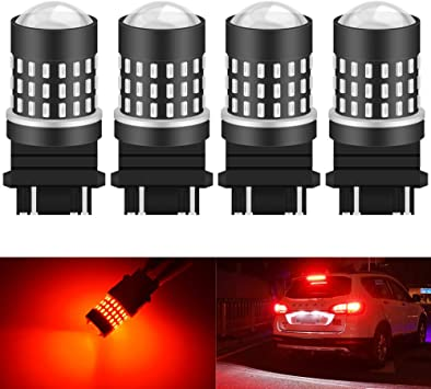2X AUXITO 3157 3156 54SMD LED Bright RED Brake Tail Stop Indicator Light Bulbs