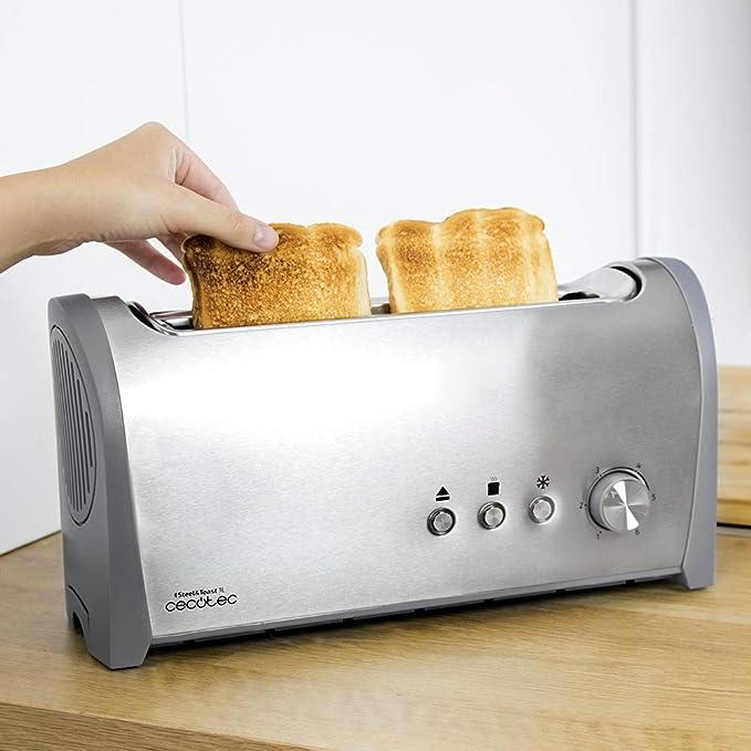 Cecotec Tostadora Acero Steel&Toast 1L. 6 Niveles de Potencia, Capacidad para 2 Tostadas, 3 Funciones (Tostar, Recalentar, Descongelar), Incluye ...