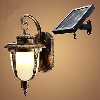 Lámpara de pared jardín de país, solares antiguos apliques pared europeo lámpara led, retro pared lámpara balcón al aire libre iluminación , gold: Amazon.es: Iluminación