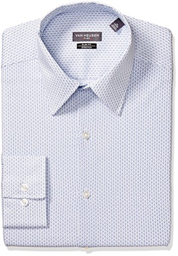Van Heusen Men's Dress Shirt Flex Collar Slim Fit Print, Periwinkle, 16.5