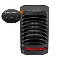 Mini Radiateur Soufflant DH-QN05 Chauffage Électrique Portatif en Céramique, Ventilateur de Chauffage 90°d'Oscillation 3 Mode Réglages Protection contre la Surchauffe et le Renversement