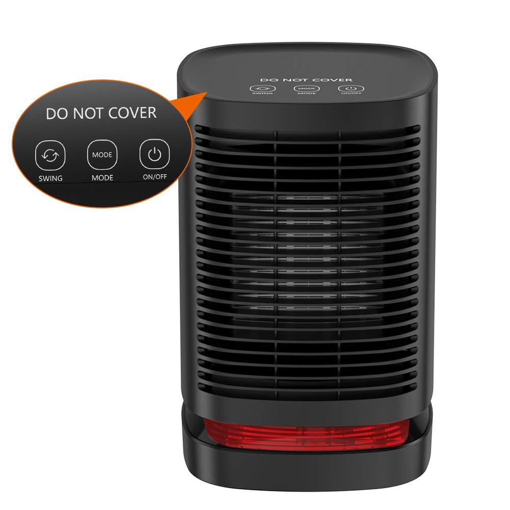 Mini Radiateur Soufflant DH QN05 Chauffage Electrique Portatif En Ceramique Ventilateur De 90dOscillation 3 Mode Reglages Protection Contre La