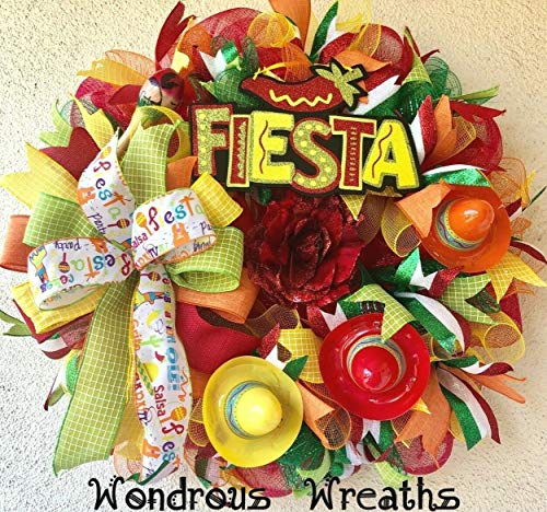 WONDROUS WREATHS Fiesta Decor Wreath with Glittered Fiesta Sign, 3 Sombreros, Maraca, Fiesta Ribbons, Deco Mesh, Door & Wall Decor-24 Wide ()