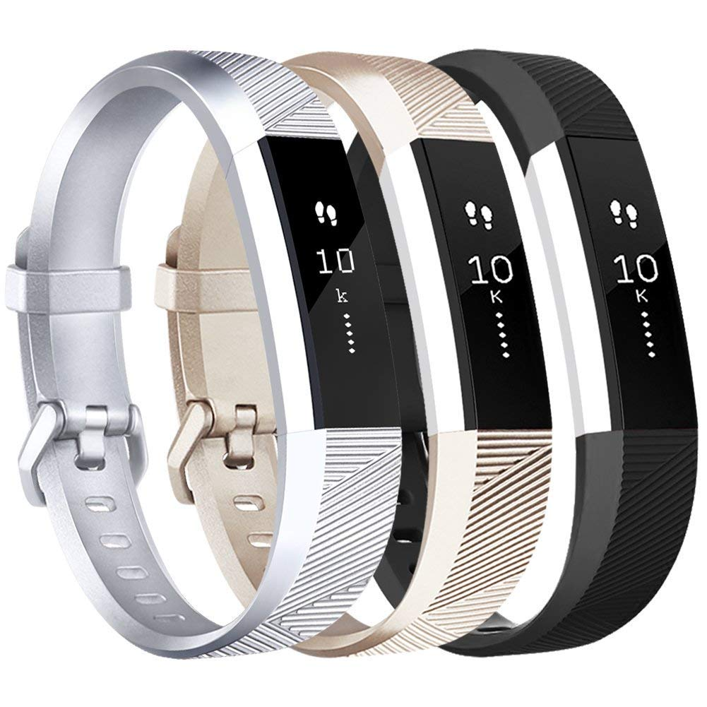 Amzpas for Fitbit Alta HR and Alta Bands 3 Pack Small Large Adjustable Replacement Band Wristbands for Fitbit Alta and Alta HR