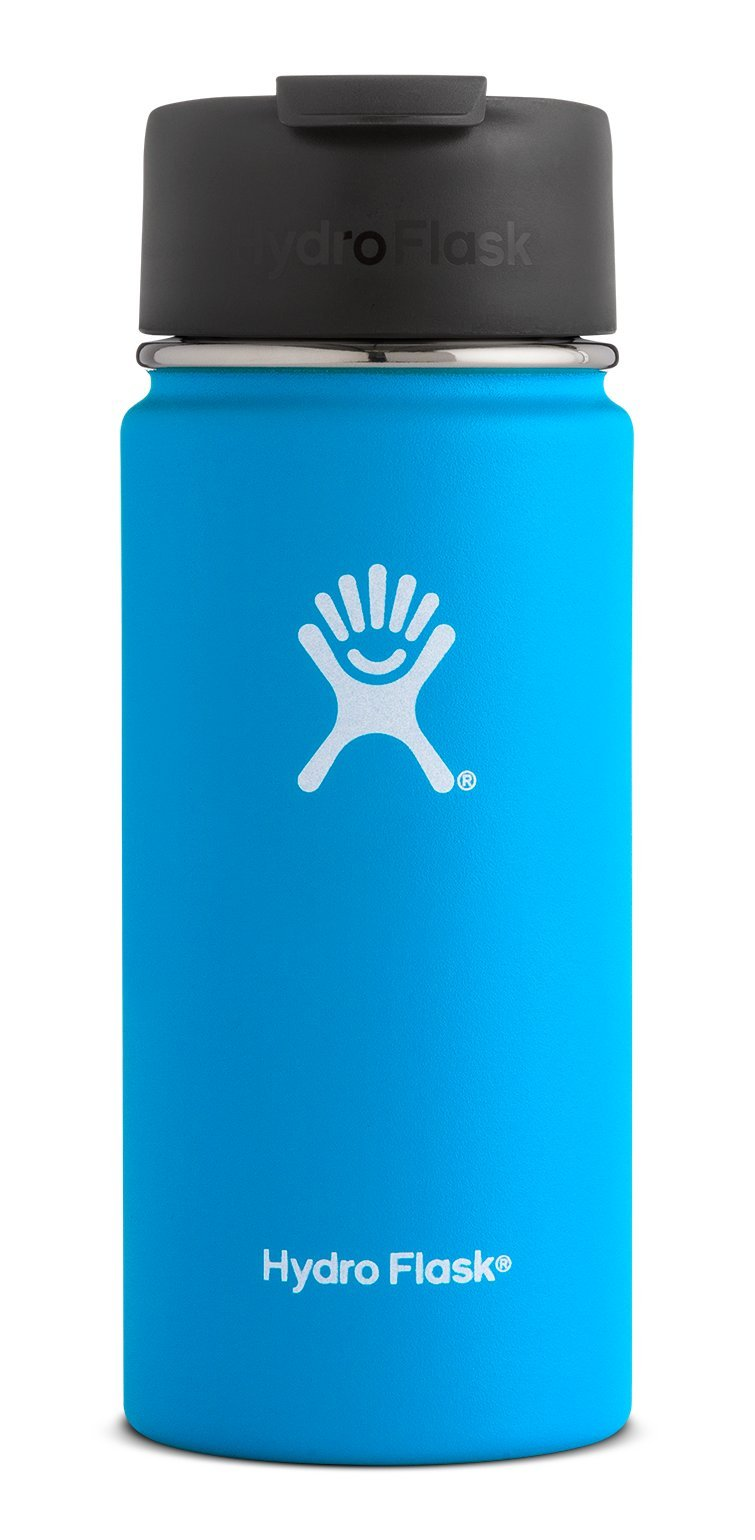 Hydro Flask 16 oz Double Wall Vacuum Insulated Stainless Steel Water Bottle/Travel Coffee Mug, Wide Mouth with BPA Free Hydro Flip Cap, Pacific
