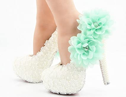 3de419b41ce YCMDM Women Wedding Shoes High Heel Waterproof White Lace Blue Flower Crystal  Shoes Wedding Shoes Bridal