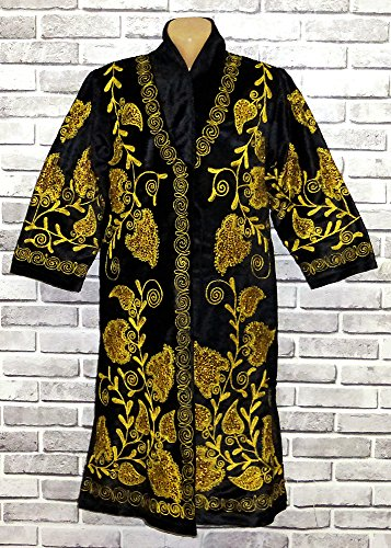 STUNNING UZBEK GOLD SILK EMBROIDERED ROBE CHAPAN FROM BUKHARA A8913 by East treasures