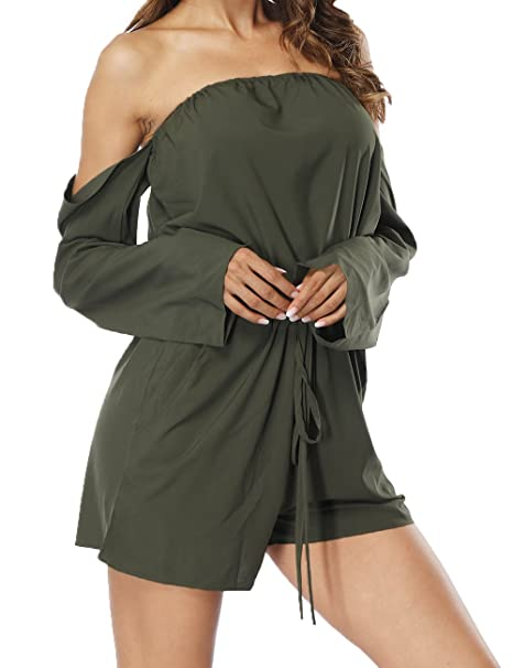 4545c21a37c6 Haola Women s Off Shoulder Rompers Sexy Long Sleeve Drawstring Short  Jumpsuit ArmyGreen S
