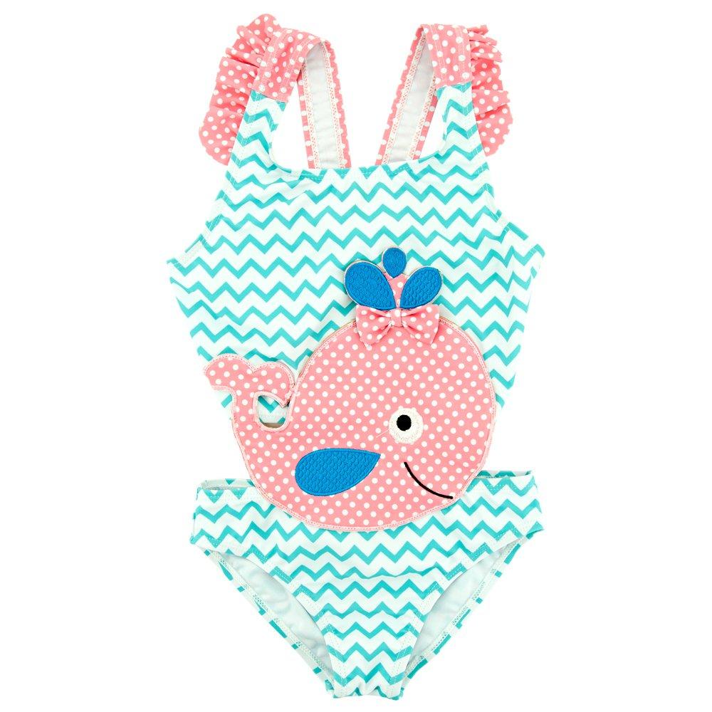 DEFAHN Kids Girls' One-Piece Swimsuit Condole Belt Cute Swimwear Beach Bathing Suit