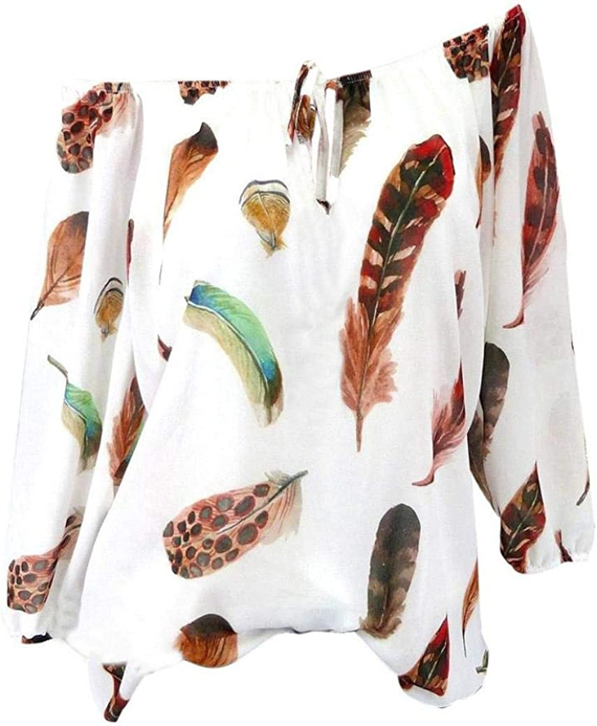Blouse Women Feather Print V-Neck Blouse Pullover Tops Plus Size Shirt