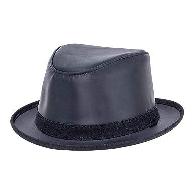 3ceca78ea49ba4 American Hat Makers Soho by Ashbury Hats Pork Pie Leather Fedora, Black -  Small