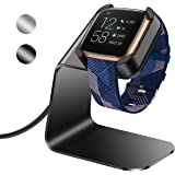 NANW Charger Dock Compatible with Fitbit Versa 2 (Not for Versa), Premium Aluminum Charging Stand Station Cradle Base Adapter with 4.2ft USB Cable Cord Accessories for Versa 2 Smartwatch, Black