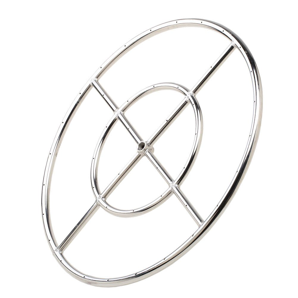 Stanbroil 24'' Round Fire Pit Burner Ring, 304 Series Stainless Steel, BTU 296,000 Max