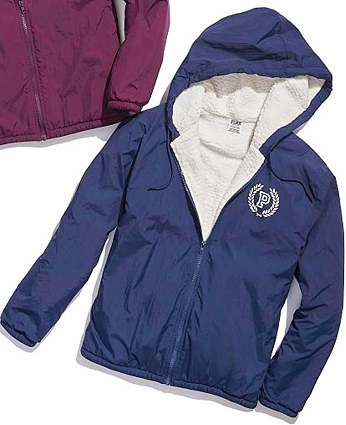 Details about  /Victoria's Secret Pink 2 in 1 Looks Reversible Sherpa Lined Full-Zip Hoodie