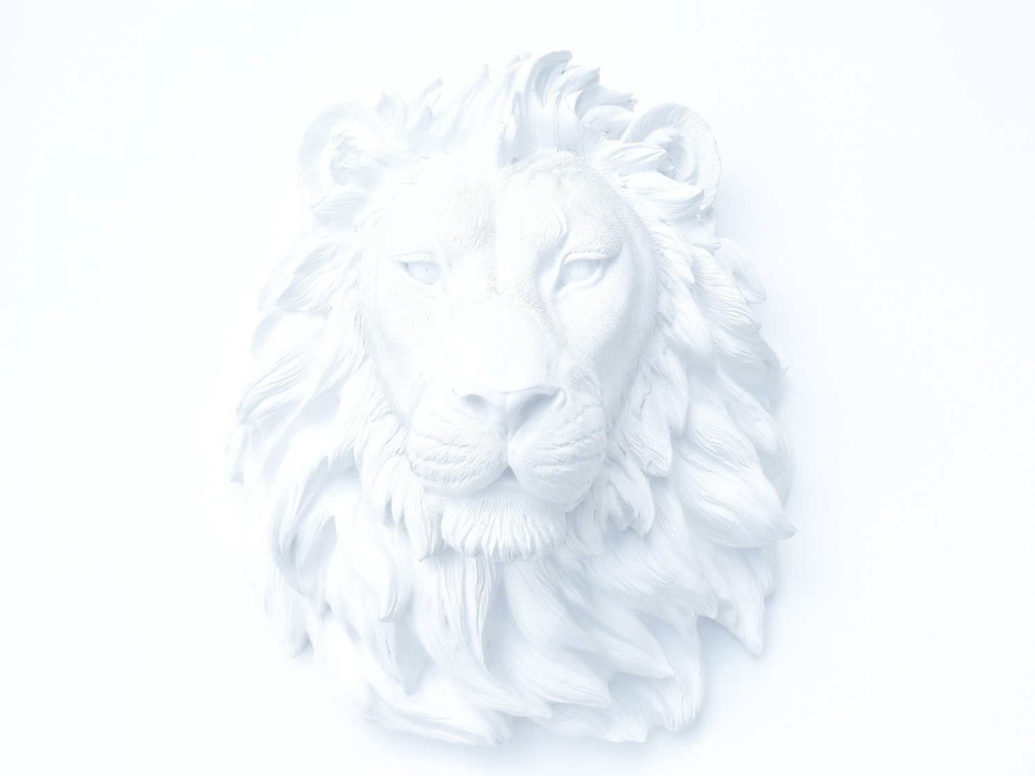 Near and Deer Faux Taxidermy Lion, White by Near and Deer