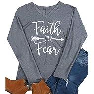 Faith Over Fear T-Shirt Women Arrow Letter Print Long Sleeve V Neck Tops Tees