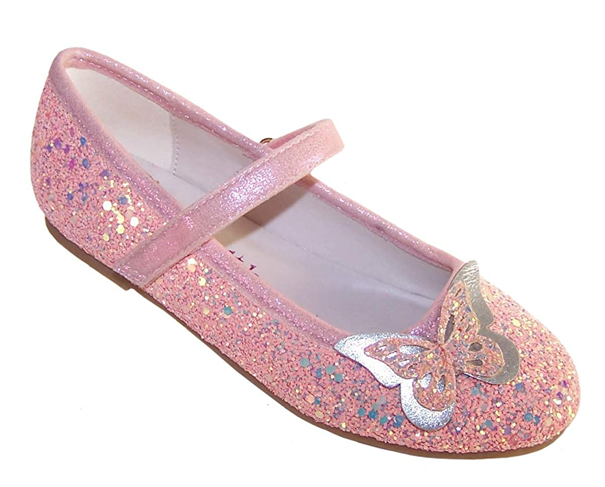 Girls Kids Pink Peach Sparkly Glitter Special Occasion Party Ballerina Shoes with Butterfly Trim