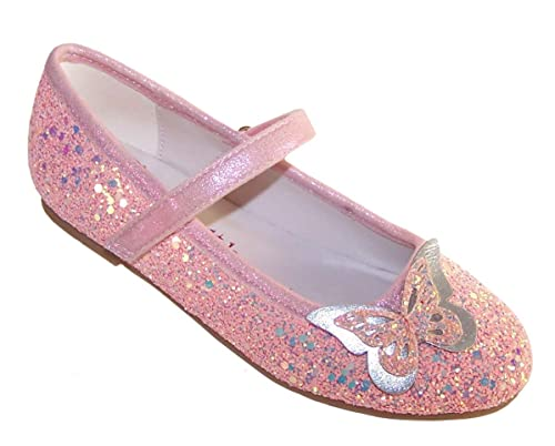 2ccb0a49a59 Girls Children Sparkly Pink Peach Glitter Ballerina Party Special Occasion  Shoes with 2D Butterfly Trim Size