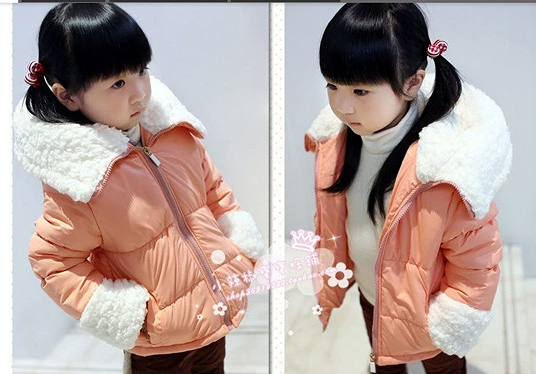 SOPO Baby Girls Cotton-padded Coat Winter Warm Lambs Wool Jackets 3-6Y R Pink