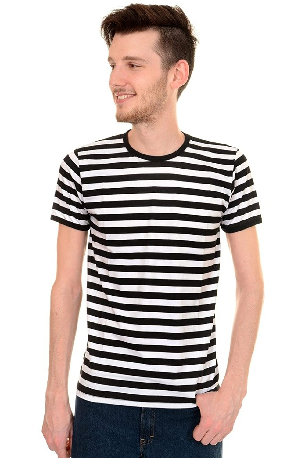 1930s Style Mens Shirts Mens Indie Retro 60s Black & White Striped Short Sleeve T Shirt $19.95 AT vintagedancer.com