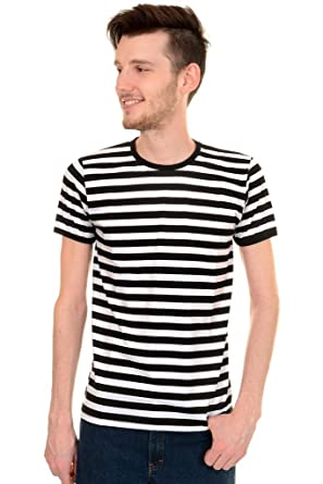 Mens Indie Retro 60's Black & White Striped Short Sleeve T Shirt ...