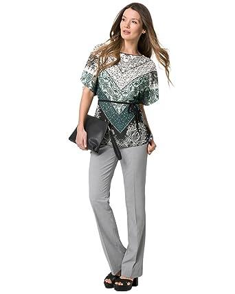 d7cb03c445d73b LE CHÂTEAU Scarf Print Chiffon Poncho Blouse at Amazon Women's Clothing  store: