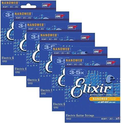 Elixir 12152 Nanoweb Coated Electric Guitar Strings Heavy 12-52