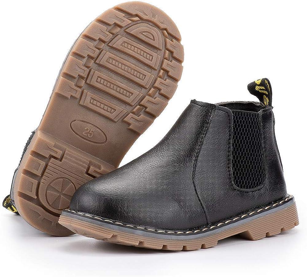 Meckior Kids Girls Boys Waterproof Side Zipper Short Boots Winter Snow Booties Childrens Martin Shoes
