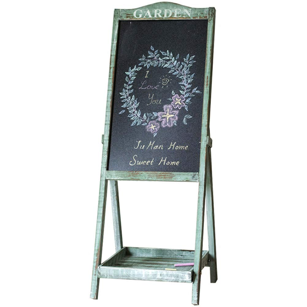 LIANGJUN Message Board Chalkboards Retro Solid Wood Floor-Standing Flower Stand Storage Chalk Writing Coffee Shop Garden Clothing Store (Color : Green, Size : 35x36x95cm)