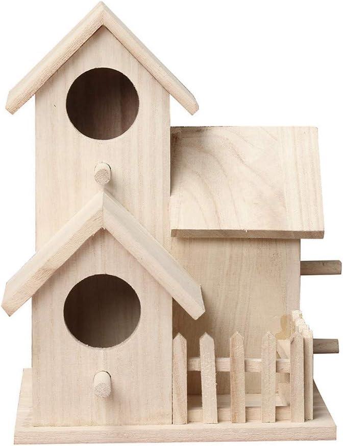 DIYARTS Casa de Pájaros de Madera Estilo Rústico Decoración de Jardín Jaula de Pájaros de Madera Al Aire Libre Regalo de Cumpleaños Ideal para Amantes de Las Aves