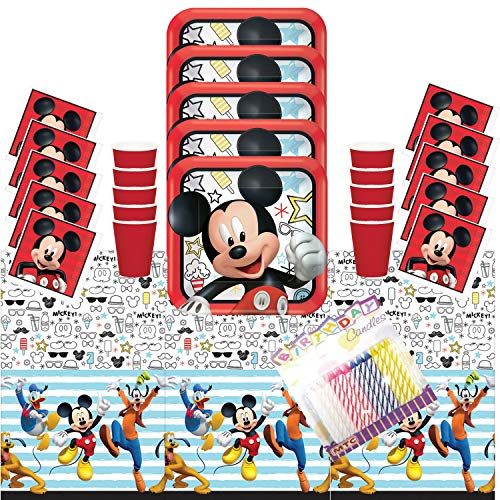 Disney Mickey On The Go Party Plates Napkins Cups and Table Cover Serves 16 with Birthday Candles - Disney Mickey Mouse Party Supplies Back Deluxe (Bundle for 16) -