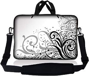 Laptop Skin Shop 8-10.2 inch Neoprene Laptop Sleeve Bag Carrying Case with Handle and Adjustable Shoulder Strap - Grey Swirl Black & White Floral