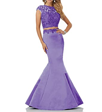 XSWPL 2 Piece Mermaid Prom Dresses Lace Prom Gowns 2018 Satin Evening Party Dress - Purple