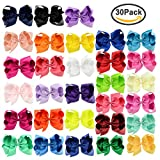 #9: 30 Pack Grosgrain Girls Hair Bows With Alligator Clips 6 Inch Boutique Big Rainbow Bows For Teens Kids Toddlers