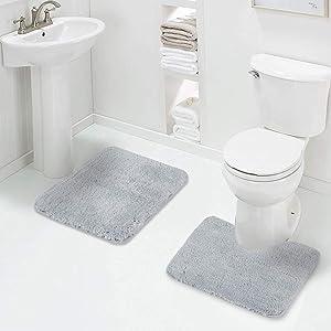 Walensee Shaggy 2 Piece Bath Rug Sets (Growing Blue) 20 x 24 U Shape Contour Rug & 20 x 32 Bathroom Rug Machine Wash/Dry Bath Mats for Bathroom Plush Absorbent Bathroom Rugs and Mats Set Non Slip