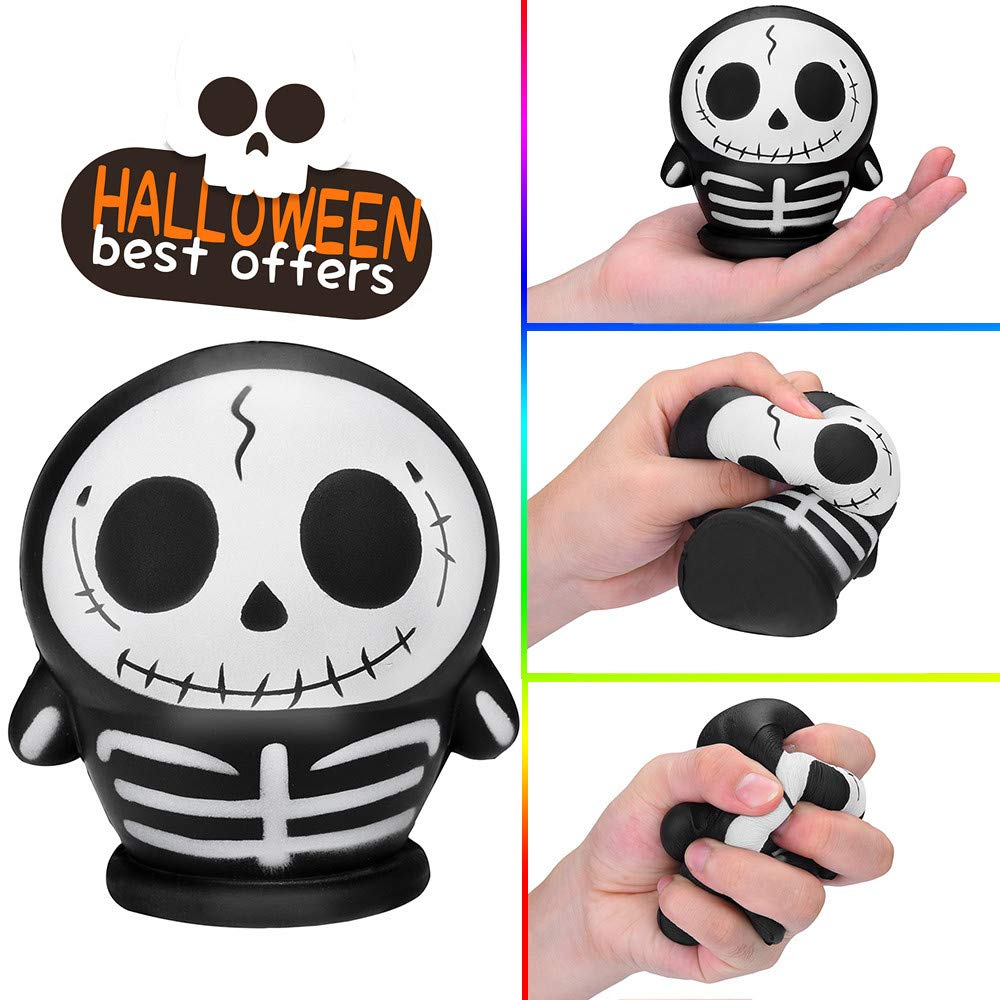 USHOT, Halloween Skulll Scented Squishies Slow Rising Kids Toys Stress Relief Hop Props EWF471Y