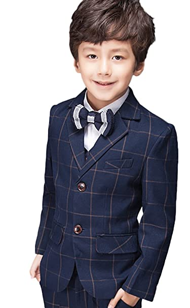 Amazon.com: SK Studio Boys Three Piece Wedding Plaid Jacket ...