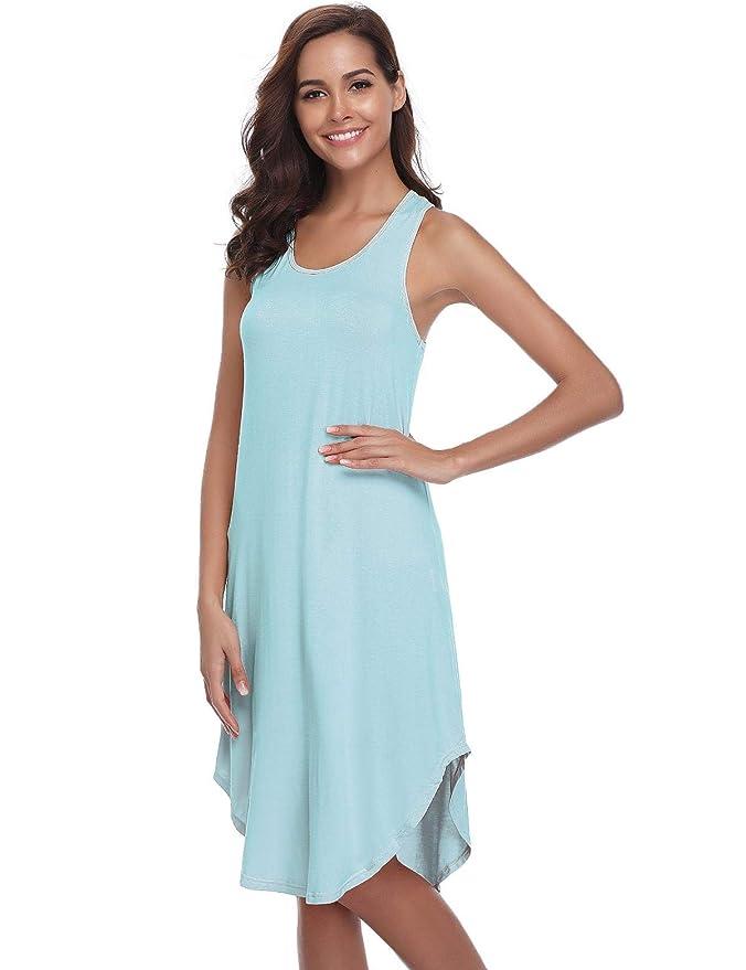 943e7914b3 Abollria Camisón sin Mangas para Mujer Algodon Vestido Verano Playa  Casuales Camisón  Amazon.es  Ropa y accesorios