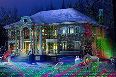 Solario Solar Powered Laser Light Projector w/ All-Metal Aluminum Design | Extra-Bright LED Stake Lights | 3 Lighting Modes & 7 Patterns | 100% Weather Resistant Outdoor Christmas Lights (Red & Green)