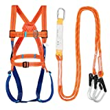 Full Body Safety Harness Tool Fall Protection with 5D-Rings and Waist Belt,Universal Personal Protective Equipment (A) (Color: A, Tamaño: XL--XXXL)