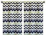 Pair of rod curtains 50'' wide panels chevron white green navy blue window treatment nursery cotton drapes 84 96 108