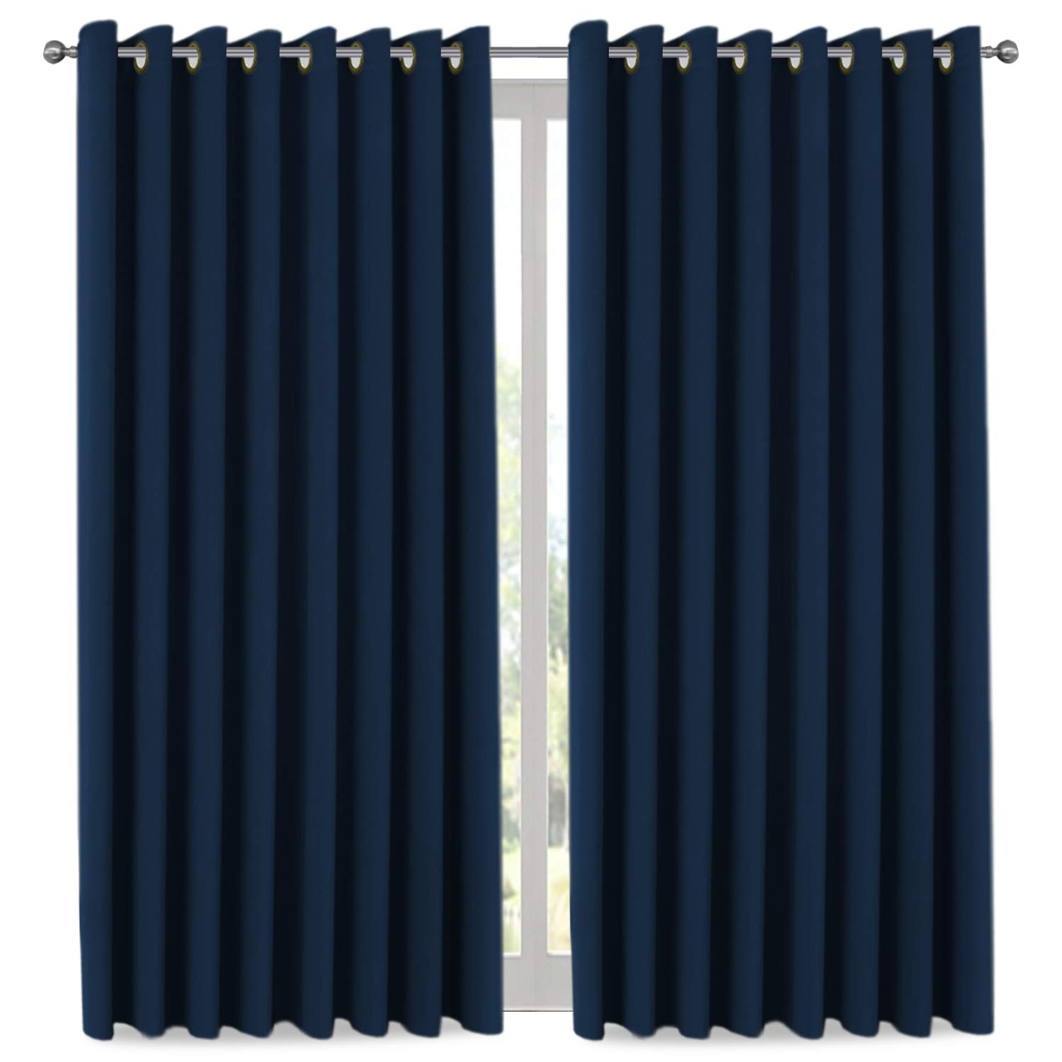 H.VERSAILTEX Ultra Blackout Wider Curtains, Extra Long and Wide Thermal Insulated Large Window Panels (100'' W x 108'' L) / Premium Room Divider (9' Tall by 8.5' Wide - Navy Blue)
