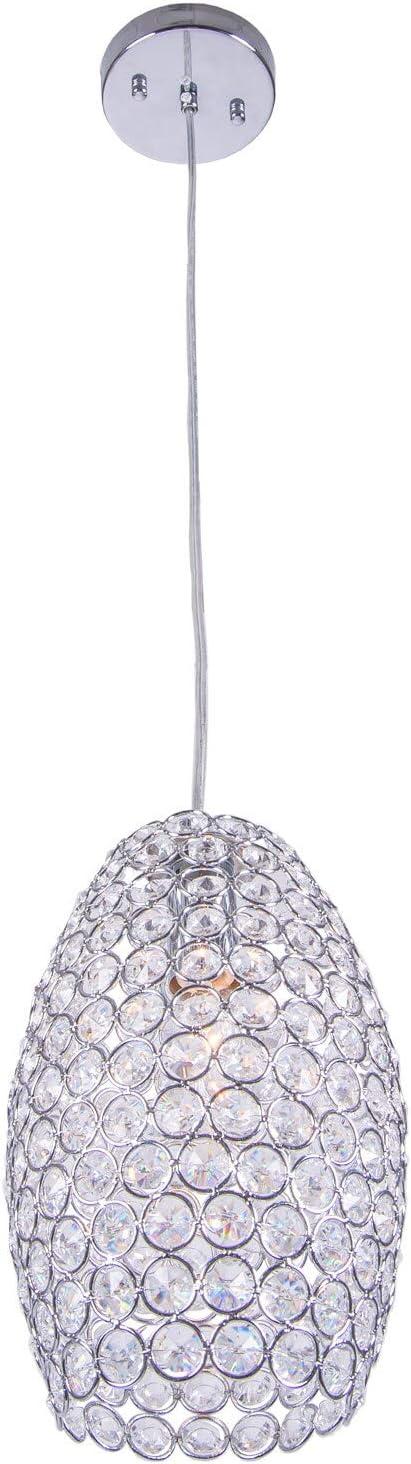 1 Licht Runde Chrome Mini Pendant mit Clear European Crystals Modern Contemporary
