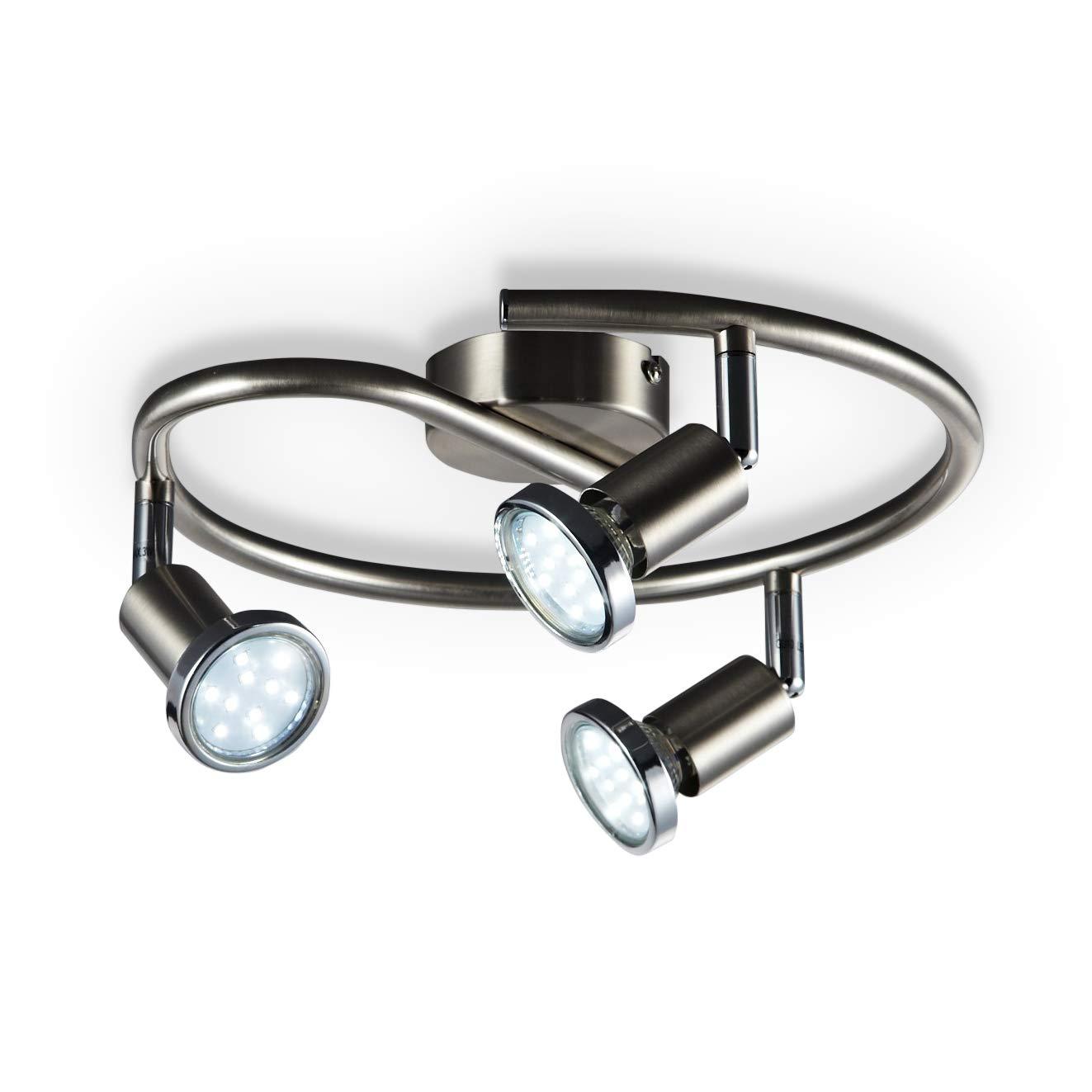 B.K. Licht plafonnier LED 3 spots orientables, luminaire plafond chromé, lumière blanche chaude, spots plafond chambre salon, 230V, GU10, IP20, 3x3W inclus [Classe énergétique A+] B.K.Licht 30-02-03S-S