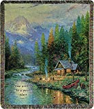 Manual Woodworkers & Weavers Tapestry Throw, Thomas Kinkade End of a Perfect Day, 50 x 60''