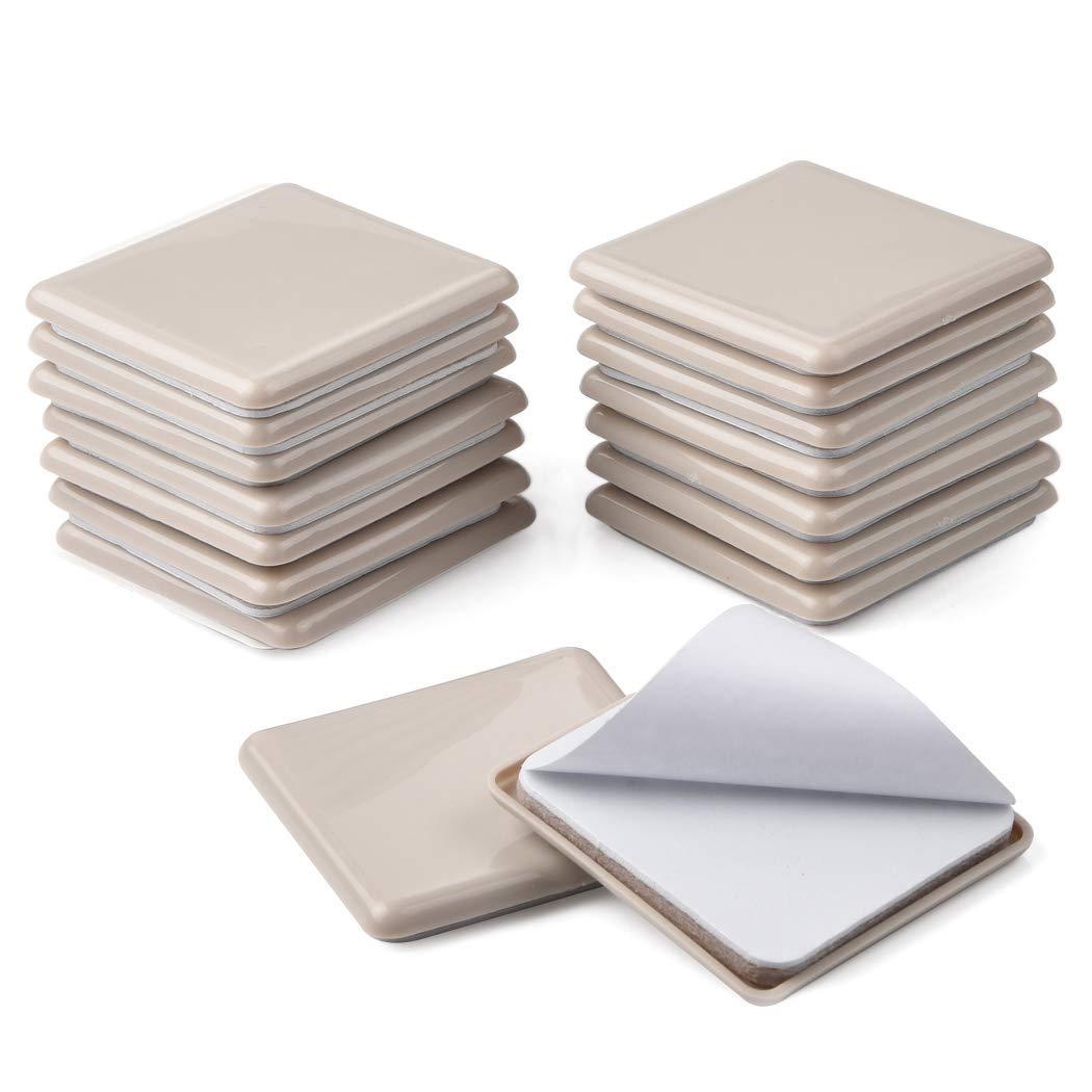 Ezprotekt - Juego de 16 deslizadores para mover muebles pesados reutilizables patines para desplazar muebles deslizadores para alfombra protectores de patas para muebles, cuadrados, 6,35 cm
